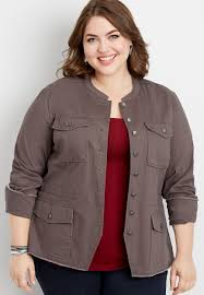 <b>plus size</b> solid button down <b>military jacket</b> | maurices