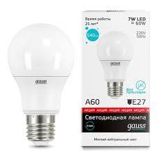 Светодиодная <b>лампа Gauss LED</b> A60/А55 7W E27 4100K (23227А ...