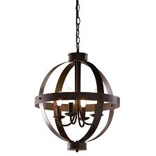 Lowes Lighting Dining Room Shop Allen Roth 18 In Antique Rustic Bronze Rustic Single