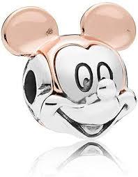 PPL88 Beads - European Silver Mickey Minnie Charm <b>Enamel</b> ...