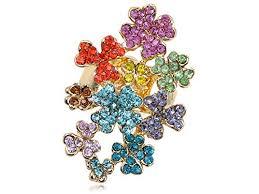 Alilang Rainbow Multicolor Crystal Rhinestone Floral ... - Amazon.com