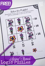 spring themed logic puzzles kid logic puzzles and set of this cute set of spring themed logic puzzles is perfect for helping kids problem solve