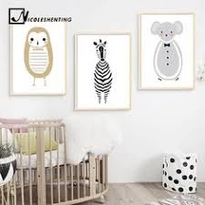 Custom Name <b>Cartoon Animal</b> Art in 2019   Nursery <b>Canvas</b> Art ...