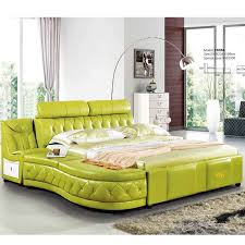 <b>Hot Sale King/Queen</b> Size red white top grain leather sofa bed set ...