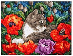 "<b>Белоснежка Картина по номерам</b> ""Кот в маках"" 30х40 см (183-AS ..."