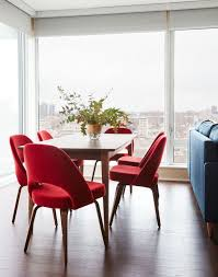 dining table xtjunp the crimson red dining room chairs from knoll are the staple pop of co