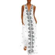 VONDA <b>Women Bohemia</b> V Neck Sleeveless Floral Long <b>Maxi</b> ...