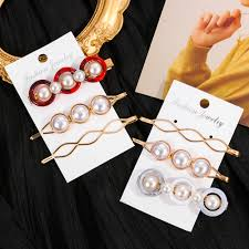 HotSale <b>3Pcs</b>/<b>set Pearl Metal Gold</b> Color Hair Clip Bobby Pin ...