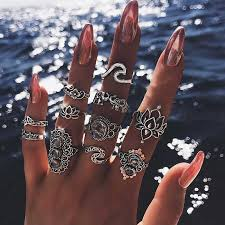 11 Pcs/set Bohemian Beach Retro Elephant Hollow Lotus <b>Wave</b> ...