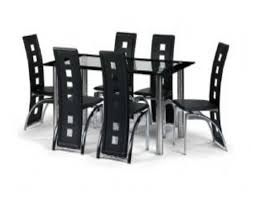 black and white dining table set: furniture dining room grand black rectangle modern dining tables with  chairs and chrome base legs