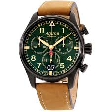 Купить <b>часы Alpina</b> Startimer Pilot Quartz Movement Green Dial ...