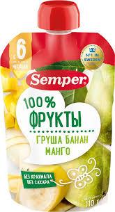 <b>Пюре фруктовое Semper</b> Груша, банан, манго, с 6 месяцев, 110 г ...