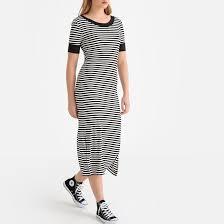 <b>Платье</b>-футболка <b>длинное</b> в полоску в полоску черный/белый <b>La</b> ...