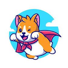 Cute <b>corgi dog</b> hero flying cartoon icon illustration.   Free Vector on ...