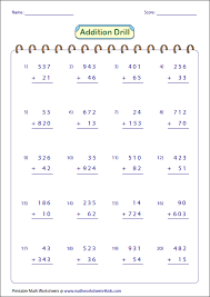 3 Digit Addition Worksheets3-digit and 2-digit: Addition Drill