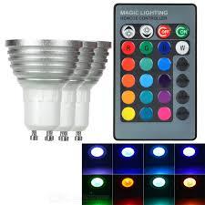 GU10 <b>3W</b> LED Spotlight RGB Light 40lm w/ Remote - White + Silver ...