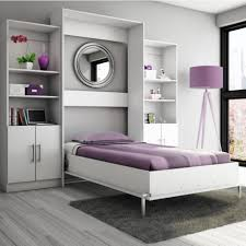 outstanding smll bedroom design with elegant wall bed between tall white painted wooden wall cupboard as amusing white bedroom design fur rug