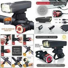 Brightroad Rechargeable 800 Lumens <b>Bike</b> Light Front And Back ...