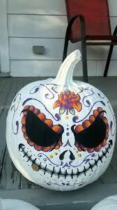 Hand painted Sugar <b>Skull Pumpkin</b> | <b>Halloween</b> outdoor <b>decorations</b> ...