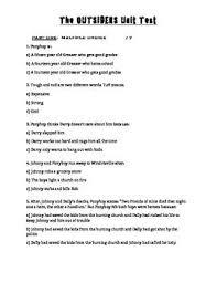 the outsiders novel study test   study on and quotationsend of unit test for a class novel study on s e  hinton    s best selling classic the outsiders  test includes a variety of questions including  multiple