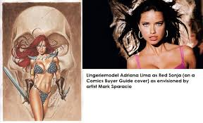 comics amp graphic novel art referencing or plaigiarism using  consider the artwork for red sonja where this particular pose of adriana lima famous lingerie model has been used as a reference base