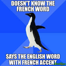 DOESN'T KNOW THE FRENCH WORD SAYS THE ENGLISH WORD WITH FRENCH ... via Relatably.com