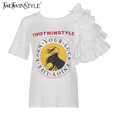 TWOTWINSTYLE Shirt Suits For <b>Women</b> High Waist <b>Ruffles</b> White ...
