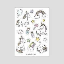 <b>magic stickers</b> set of 2 sheets unicorn and princess | Etsy | <b>Наклейки</b> ...