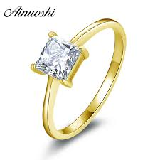 <b>AINUOSHI 10k Solid Yellow</b> Gold Women Engagement Ring ...