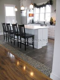 kitchen floor tiles small space: awesome dark ideas awesome dark ocean pebble tile kitchen floor accent image id