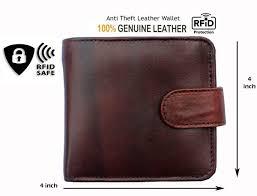 RFID blocking Men's Brown <b>Real Leather Wallet</b>