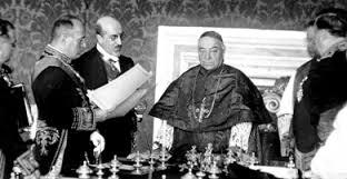 Benito Mussolini e il Cardinale Pietro Gasparri