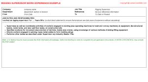 supervisor cv work experienceabout rigging supervisor resume work experience sample sample and template