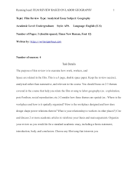 geography essay example film review based on labor geography