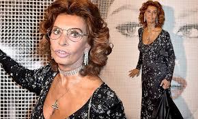 Sophia Loren, 80, stands out in <b>crystal</b>-<b>embellished black</b> dress as ...