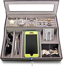 <b>Top Quality Mens Black</b> Wood Valet Storage Box Organizer ...