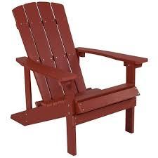 Flash Furniture Charlestown Red Wood Stationary <b>Adirondack Chair</b> ...