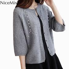 NiceMix <b>2020 Autumn Sweater</b> Women Slim Knitted Cardigan Pearl ...