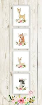 4 Boho Woodland Deer <b>Fox Bunny Rabbit</b> Raccoon Wall Art Print ...