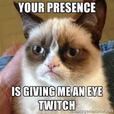 Your presence Is giving me an eye twitch - Grumpy Cat | Meme Generator via Relatably.com