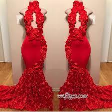 Sexy Red Keyhole <b>2019</b> Prom Dresses | <b>Mermaid Flowers</b> Long ...