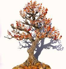 beaded wire tree | Autumn <b>Bonsai</b> Tree Wire Beaded Sculpture ...