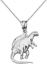 <b>Sterling Silver</b> Triceratops Dinosaur Charm with Box Chain Necklace