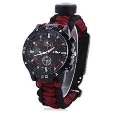 <b>Multifunctional</b> 6 in 1 <b>Outdoor Survival Watch</b> Bracelet   Survival ...