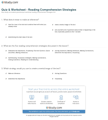 quiz worksheet reading comprehension strategies com print strategies for reading comprehension worksheet