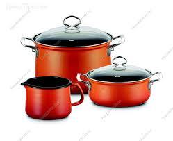 <b>Набор эмалированной посуды</b> из нержавеющей стали <b>3</b> предмета