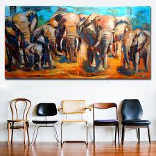 <b>Animal Art</b> African Elephant Family Big Canvas <b>Paintings</b> Wall <b>Art</b> ...