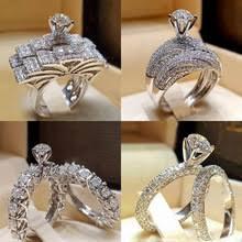 2Pcs Bridal <b>Set</b> Elegant rings <b>for Women</b> Sliver <b>Color</b> Wedding ...