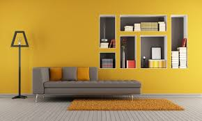 Resultado de imagem para parede amarela e cinza