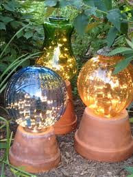 garden lights made from flower pots and old lamp globes with a string amazing garden lighting flower